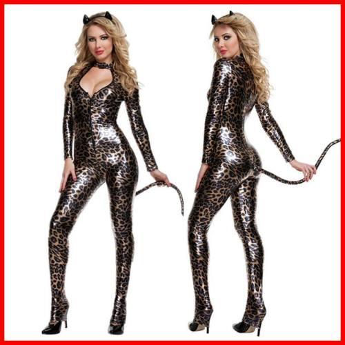 Women Leopard Print Jumpsuit Costume Cat Woman Cosplay