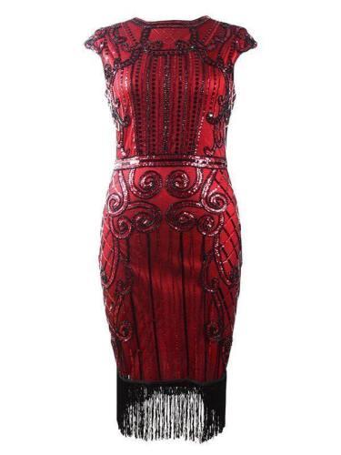 Retro Beaded Sequined Dress