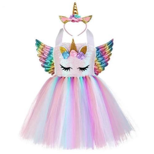 Girls Unicorn Tutu Dress With Gold Headband Wings Princess Halloween Party Dress