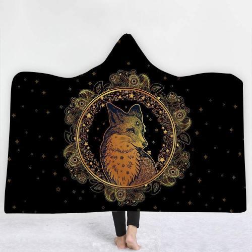 Golden Ethnic And Tribal Designed Version 3 Hooded Blanket