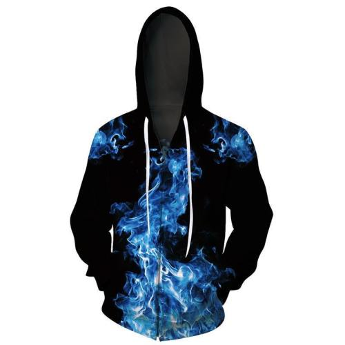 Mens Zip Up Hoodies 3D Printed Blue Smoke Printing Pattern Hooded
