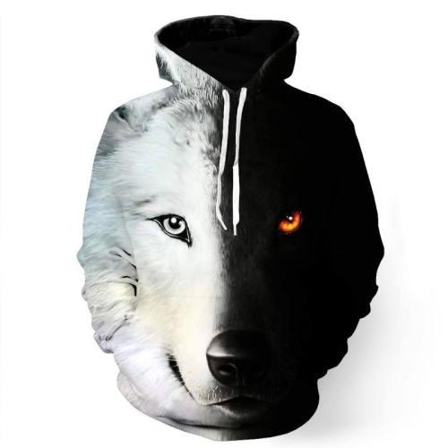 Black And White Wolf Sweatshirt/Hoodie