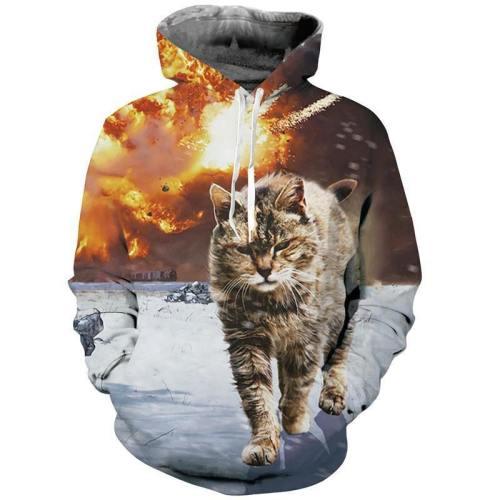 Mens Hoodies 3D Printing Cat Printed Winter Hoodies