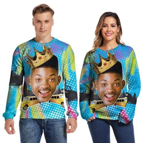 Mens Pullover Sweatshirt 3D Printed Merry Christmas Young Man Face Long Sleeve Shirts