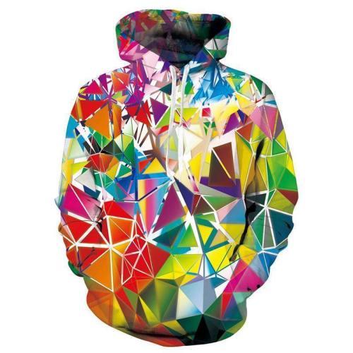 Mens Hoodies 3D Printed Colorful Diamond Hooded