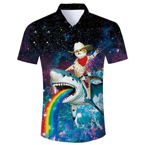Men'S Tropical Beach Hawaiian Shirt Cat Riding Shark Print