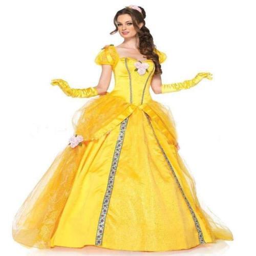 Beauty And The Beast Bell Yellow Long Dress Halloween Costume Belle Cosplay Princess Dress