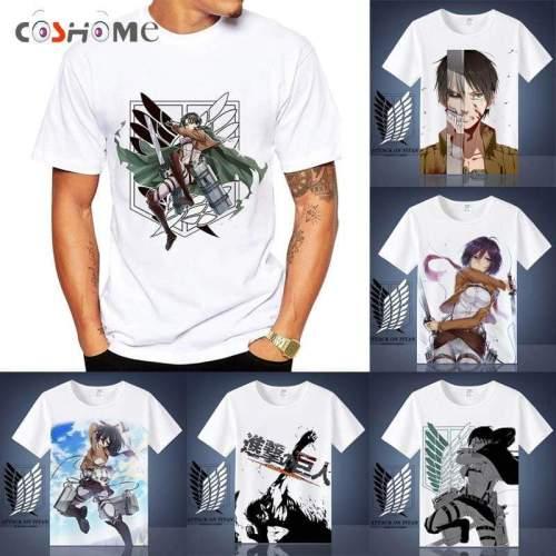 Attack on Titan Shingeki No Kyojin Mikasa Levi Cosplay T-shirts Costumes Short Sleeve Summer Tees