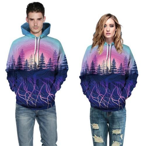 Mens Hoodies 3D Printed Forest Tree Printing Pattern Sweatshirts