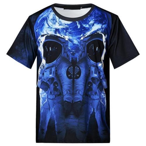 Mens T Shirt Astronaut Printing Pattern Tee