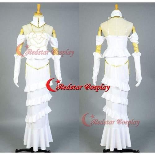 Overlord Overseer Albedo Halloween Cosplay Costume White Dress Gown Uniform Suit