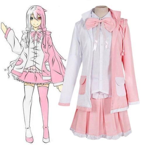 Danganronpa 2 Monomi Pink White Rabbit Uniform Cosplay Costumes Wigs