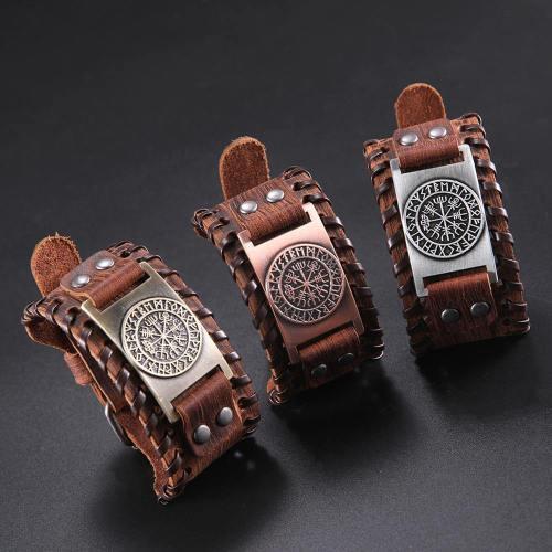 Ancient Viking Compass Leather Wristband Bracelet