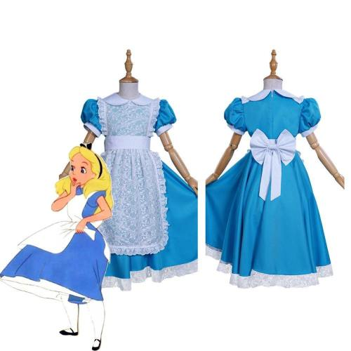 Alice In Wonderland Kids Girls Dress Apron Outfits Halloween Carnival Suit Cosplay Costume