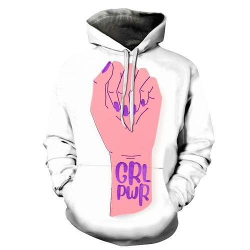 Hand Print Girl Power 3D - Sweatshirt, Hoodie, Pullover