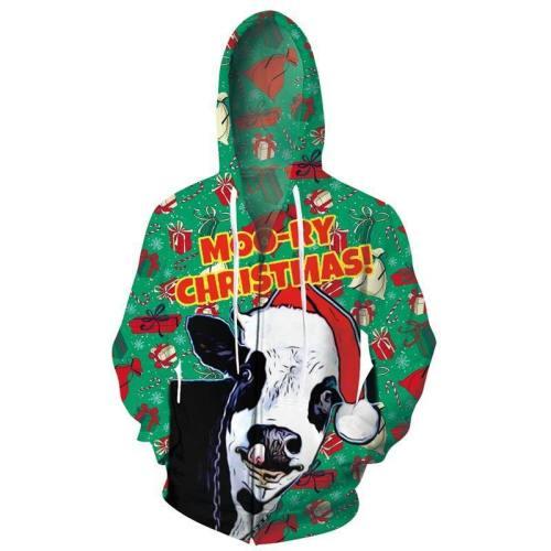 Mens Zip Up Hoodies Christmas Cow 3D Graphic Printing Hoody