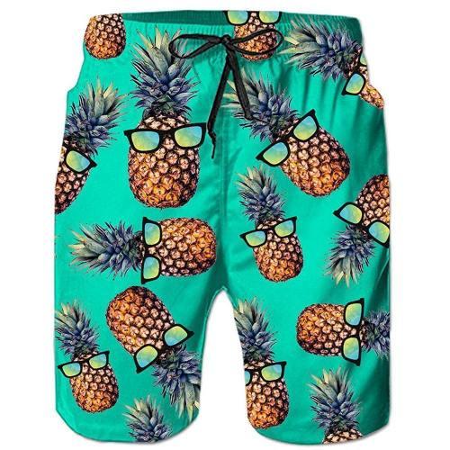 Green Pineapple Glass Tropical Hawaiian Beach Board Shorts
