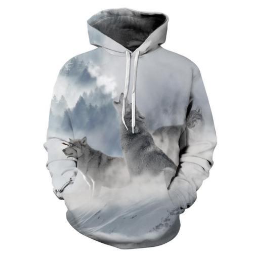 Snow Wolfs Long Sleeve Hoodies 3D Painted Sweatshirt