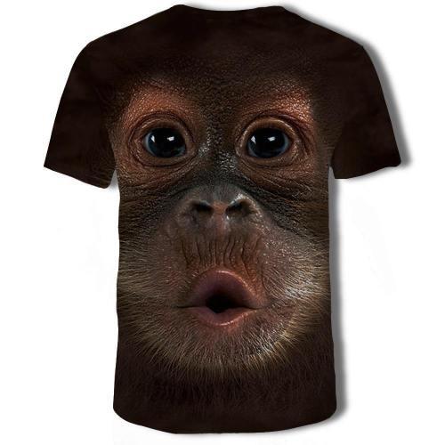 Mens T Shirt 3D Printing Cute Monkey Printed Tee