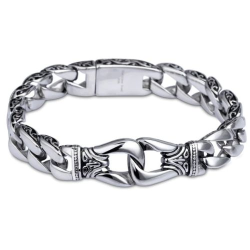 High Polished Stainless Steel Curb Chain Bracelet