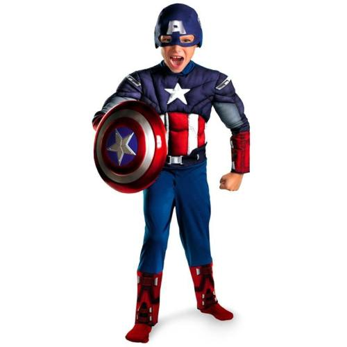 Boys Avengers Captain America Muscle Cosplay Fancy Halloween Party Costumes