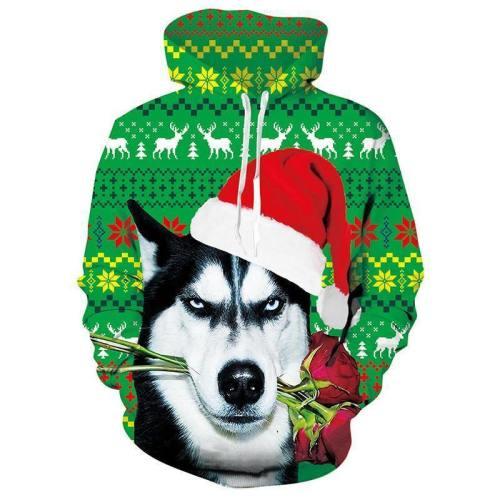 Mens Hoodies Christmas Dog 3D Graphic Printing Sweatshirt