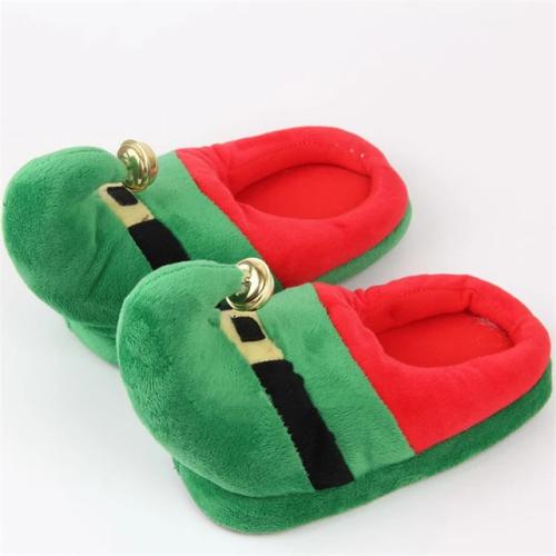 Christmas Cotton Slipper Deer Santa Bell Flat Indoor Slippers Shoes