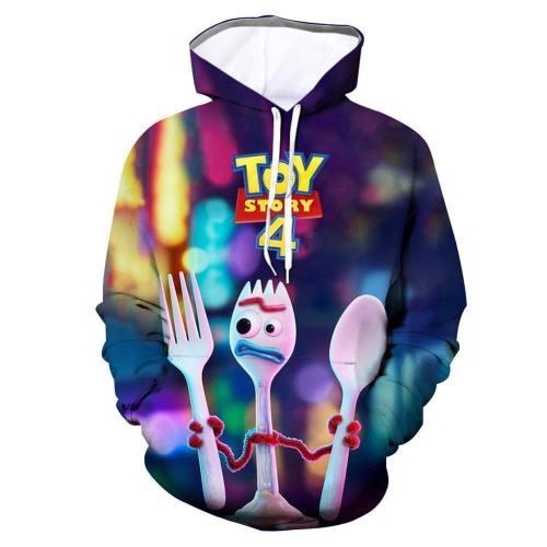 Unisex Toy Story 4 Hoodies Forky Printed Pullover Jacket Sweatshirt