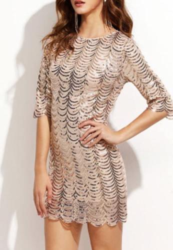 Sexy Fish Scale Sequined Sleeve Nightclub Dress