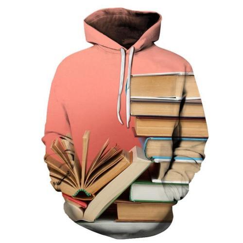Pink Books 3D - Sweatshirt, Hoodie, Pullover