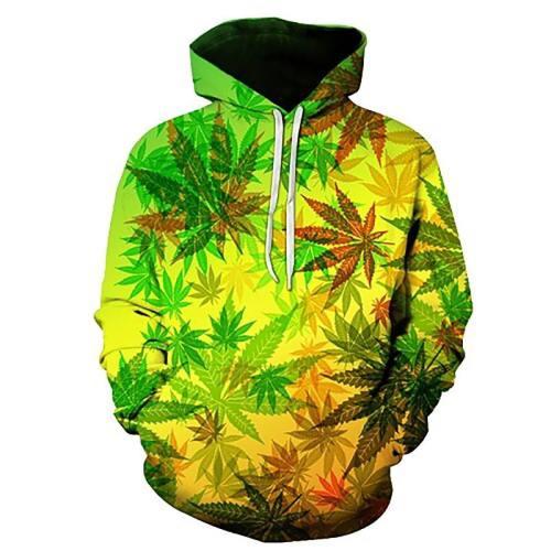 Tropical Weed Leaves 3D Print Hooded Sweatshirt