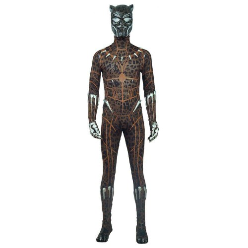 Black Panther Costume With Yellow Leopard Printing Halloween Cosplay Suit