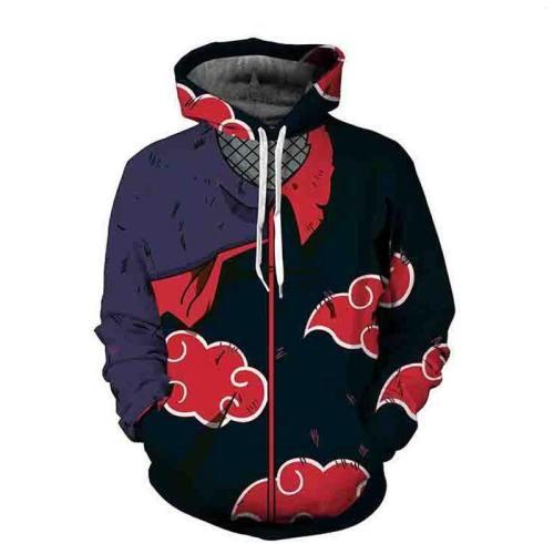 Naruto Hoodie Coat Sweatshirts Kakashi Akatsuki Sasuke O'Brien 3D Hoodies Pullovers