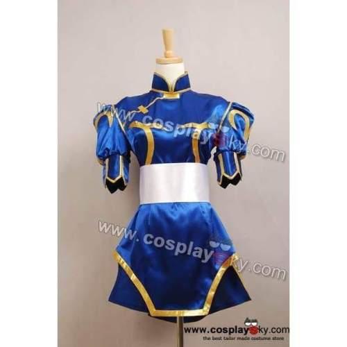 Street Fighter Chun Li Cosplay Costume Halloween Blue Dress