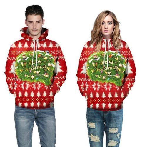 3D Print Hoodie - Merry Christmas Print Pullover Hoodie  Css050