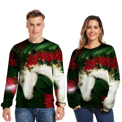 Mens Pullover Sweatshirt 3D Printed Christmas Lovely Horse Long Sleeve Shirts