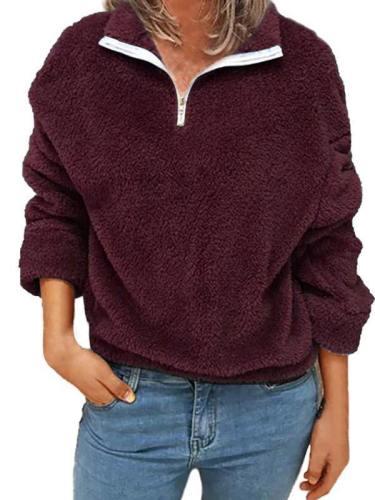 Plus Size Womens Quarter Zip Fuzzy Oversized Sweatshirt