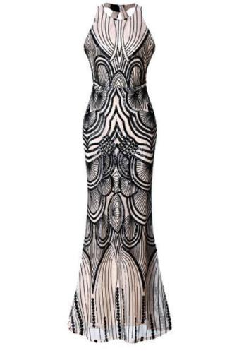 Sequined Halter Elegant Evening Dress