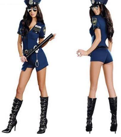 Vocole Women Sexy Police Officer Cosplay Costume Halloween Policewoman Cosplay Bodysuit