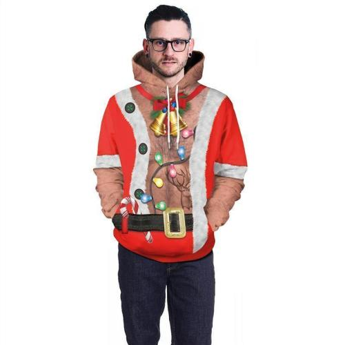 Mens Red Hoodies 3D Graphic Printed Merry Christmas Bell Pullover
