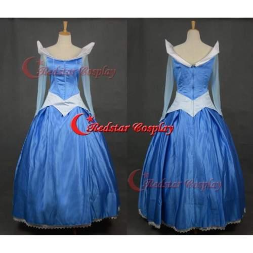 Sleeping Beauty Aurora Princess Cosplay Costume Blue Party Dress Custom-Made For Girls