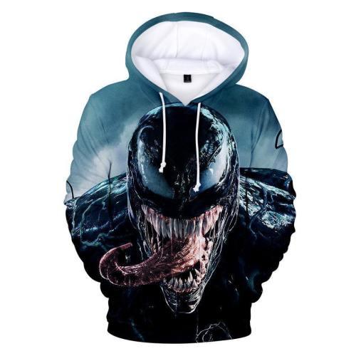 Venom 3D Printing Fashion Long-Sleeved Hooded Pullover For Men