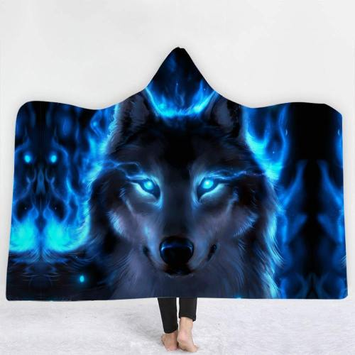 Power Within Wolf Hooded Blanket