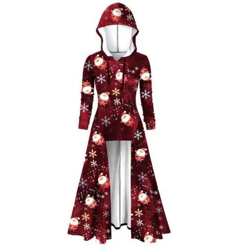 Christmas Print Blouse Shirts Fashion Women Hooded
