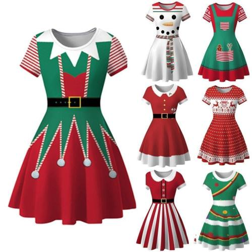 Charming Dress Women Winter Snowman Christmas Red S Notes Print Vintage Costume Swing Party Dress Robe Hiver Femme