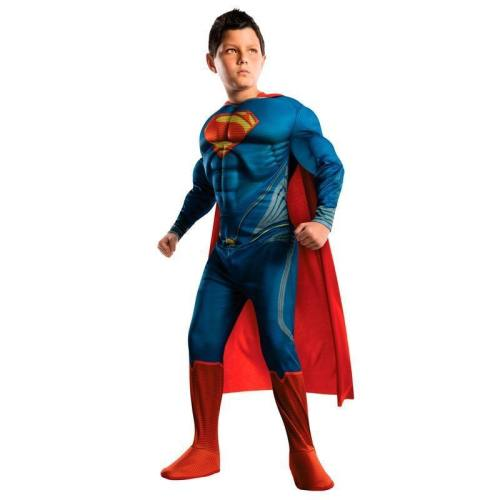 Purim Kids Boys Deluxe Muscle Superman Superhero Cosplay Costumes