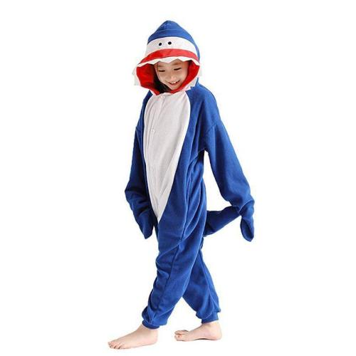 Blue Shark Costume For Kids One Piece Pajamas For Girls