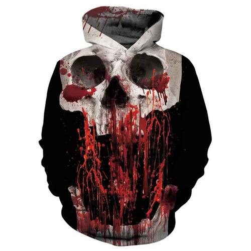 Mens Hoodies 3D Printed Blood Skull Printing Hoodies