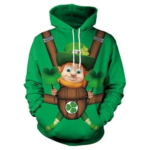 St. Patrick'S Day Green Three-Leaf Irish Print Sweatshirt