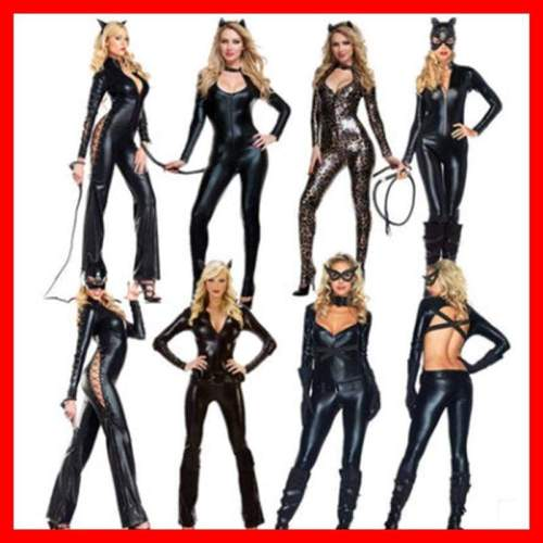 Sexy Women PVC Latex Bodysuits Jumpsuit Catwoman Shiny Super Hero Animal Faux Leather Catsuit Halloween Costume